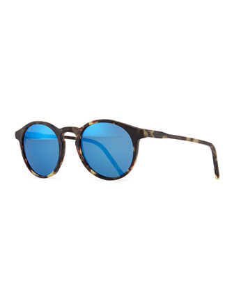 Miki Round Pantos Mirror Sunglasses, Tortoise/Blue