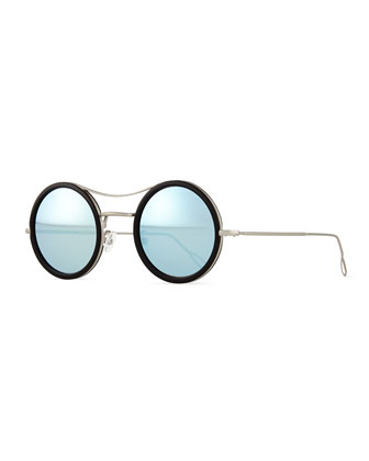 Ros Cell Mirror Sunglasses, Black/Silver