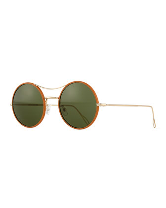 Ros Wrapped Round Mirror Sunglasses, Tan/Green