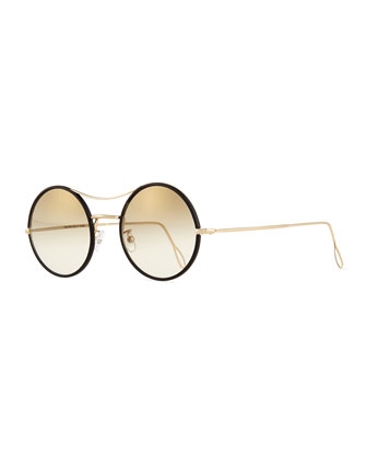 Ros Wrapped Round Mirror Sunglasses, Black/Gold