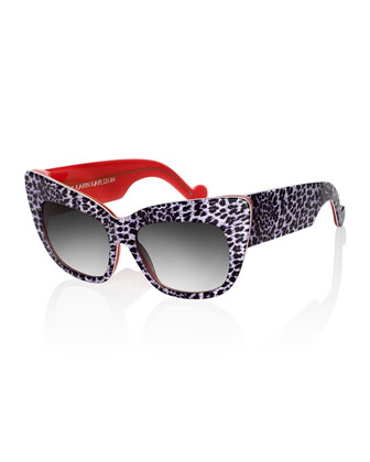 Alice Goes To Cannes Sunglasses, Silver Leopard