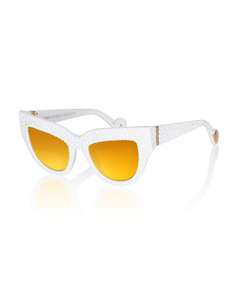 Lush Lily Sunglasses, White/Yellow