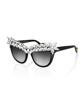 Decadence Crystal-Brow Sunglasses, Black