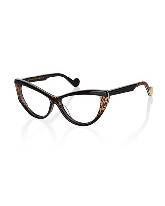Luscious Cat-Eye Fashion Glasses, Black/Leopard