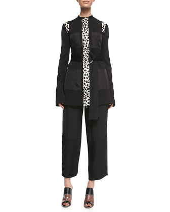 Spotted Calf Hair-Inset Jacket, Pebble-Crepe Cropped Judo Pants & ...