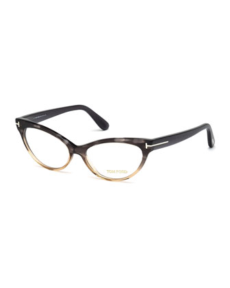 Cat-Eye Fashion Glasses, Gray/Peach