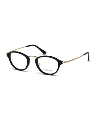 Round Vintage-Inspired Fashion Glasses, Rose Golden/Black