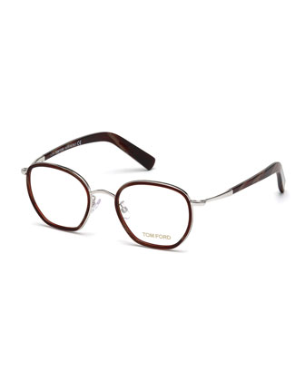 Rounded Square Vintage-Inspired Fashion Glasses, Pewter/Burgundy