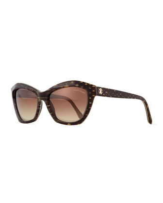 Plastic Square Snake-Print Sunglasses, Gray/Brown
