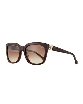 Plastic Square Sunglasses, Havana