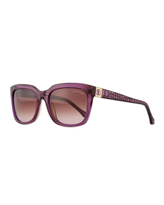 Plastic Square Sunglasses, Violet/Wine