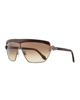 Metal Shield Sunglasses, Gunbrown