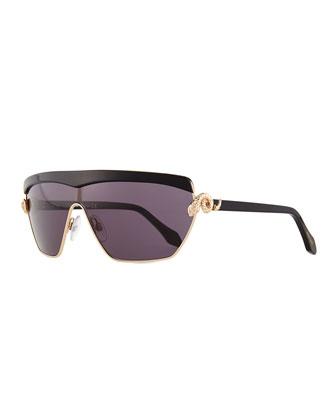 Metal Shield Sunglasses, Rose Gold/Smoke