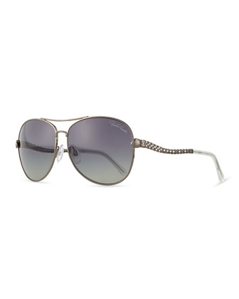 Studded Metal Aviator Sunglasses, Silvertone
