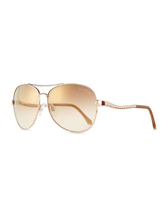 Metal Aviator Sunglasses, Brown/Gold