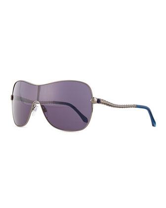 Metal Shield Snake Sunglasses, Gunsmoke