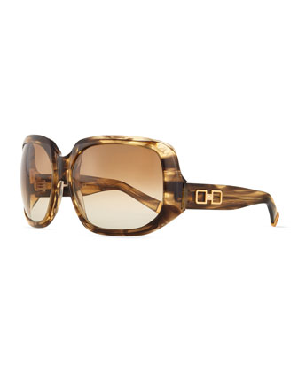 Acetate Square Sunglasses, Crystal Horn Brown
