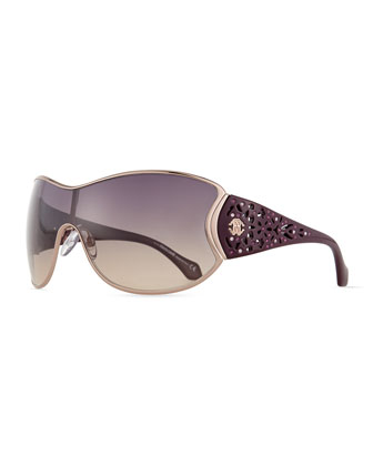 Metal Shield Sunglasses w/ Laser-Cut Arms, Plum