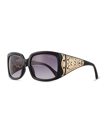 Injected Square Sunglasses w/ Laser-Cut Detail, Black
