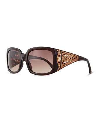 Injected Square Sunglasses w/ Laser-Cut Detail, Dark Brown