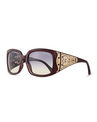 Injected Square Sunglasses w/ Laser-Cut Detail, Bordeaux
