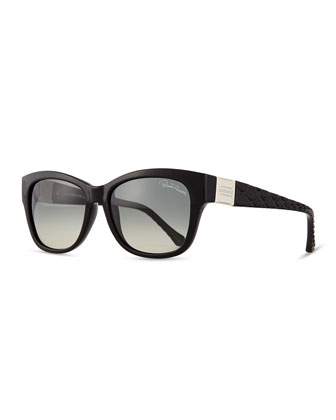 Injected Butterfly Sunglasses w/ Diamond-Cut Detail, Shiny Black