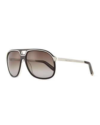 Aviator Sunglasses with Metal Frames, Black White/Smoke