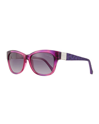 Square Injected Sunglasses, Violet/Smoke