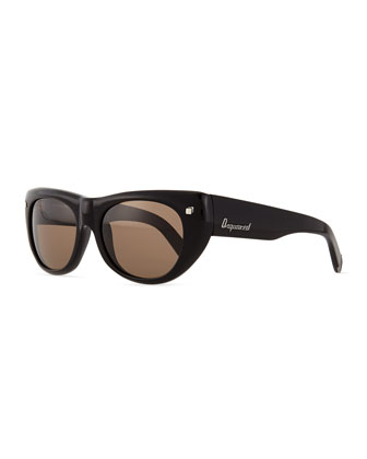 Acetate Round Sunglasses, Shiny Black/Brown