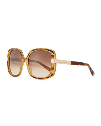 Acetate Square Sunglasses, Havana/Honey Brown