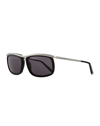 Metal/Acetate Square-Frame Sunglasses, Black/Ruthenium