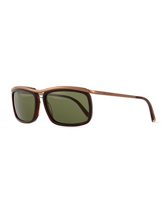 Metal-Frame Square Sunglasses, Bronze/Green