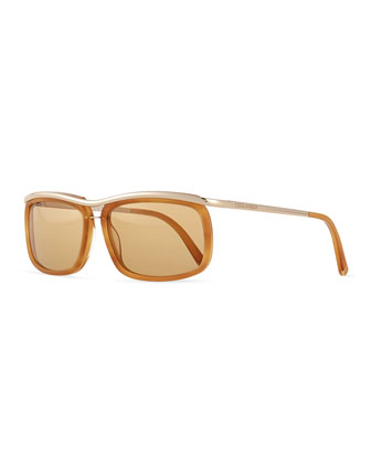 Metal/Acetate Square-Frame Sunglasses, Honey/Rose
