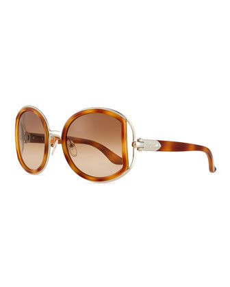 Round Sunglasses with Buckle Detail, Light Tortoise