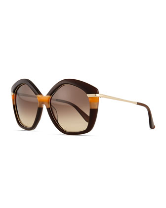 Pentagon Butterfly Sunglasses, Brown