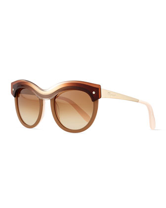 Rounded Colorblock Sunglasses, Beige