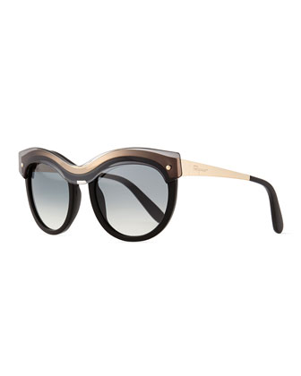 Rounded Translucent-Brow Sunglasses, Black