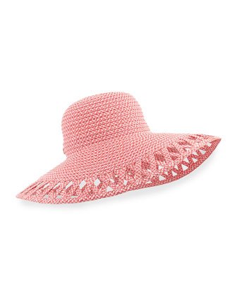 Maribel Cutout-Wide-Brim Hat, Coral Mix