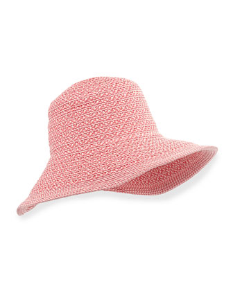 Squishee Shade Wide-Brim Hat, Coral Mix