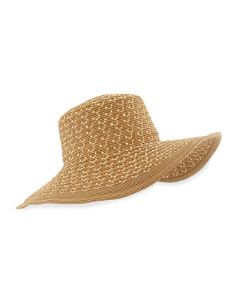Squishee Shade Wide-Brim Hat, Natural Mix