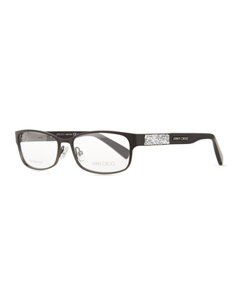 Crystal-Temple Fashion Glasses, Black