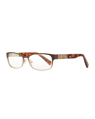Crystal-Temple Fashion Glasses, Brown
