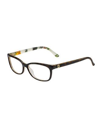 Square Floral-Back Fashion Glasses, Brown