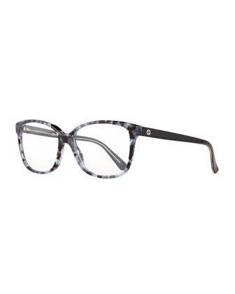 Square Flecked Fashion Glasses, Black/Gray