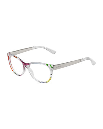 Floral-Print Metal-Arm Fashion Glasses, Clear