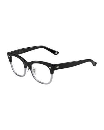 Two-Tone Fashion Glasses, Black/Gray