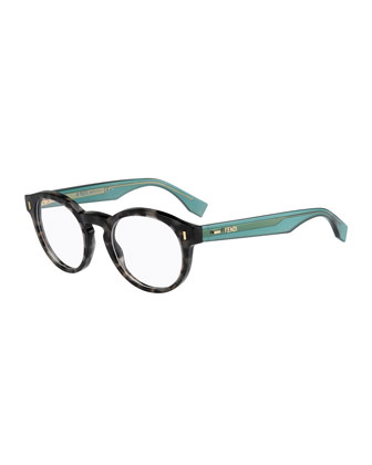 Round Fashion Glasses, Gray/Green