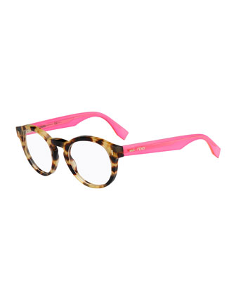 Round Fashion Glasses, Havana/Pink
