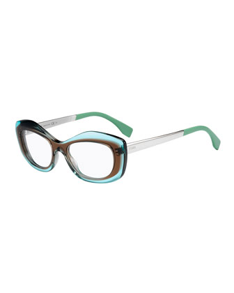 Colorblock Fashion Glasses, Brown/Blue
