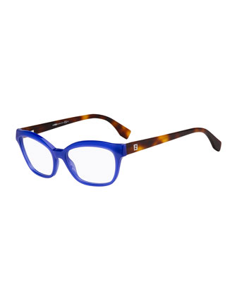 Square Two-Tone Fashion Glasses, Blue/Havana